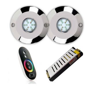 Pack de 2 focos, control remoto y fuente de alimentación