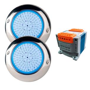 Pack 2 focos LED blanco para piscina 15W Ø15cm con transformador