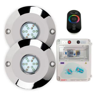 Pack 2 focos para piscina con transformador y mando a distancia