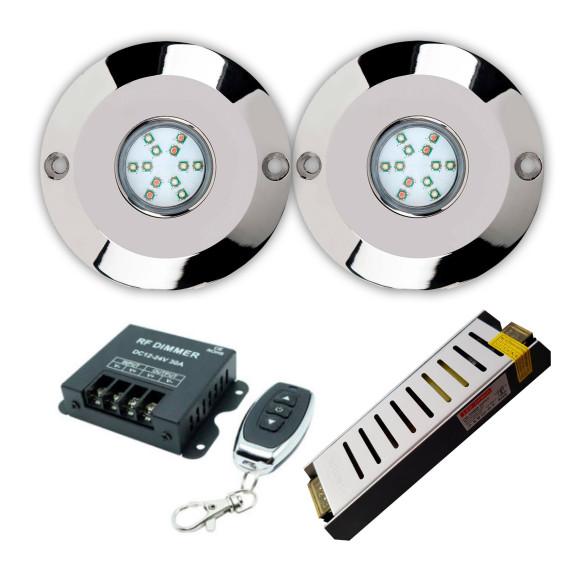 Pack 2 focos 60w piscina LED blanco con transformador y mando a distancia