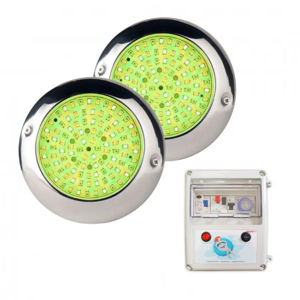 Pack 2 Focos LED RGB con cable de 4...